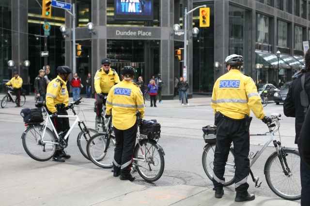 Bike cops block traffic